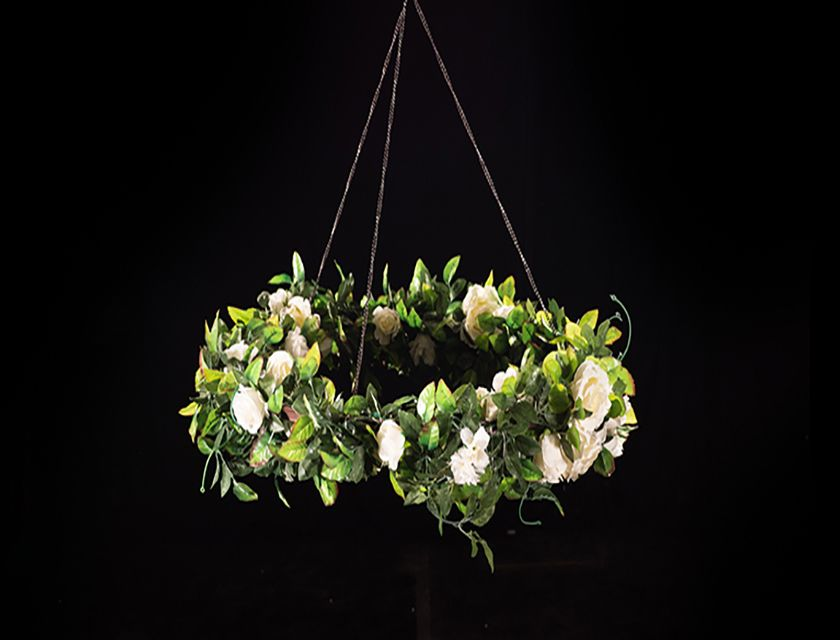 Hanging Hoop - White Ivy Rose - 1m