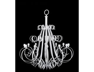 White Chandelier with Crystal drops -