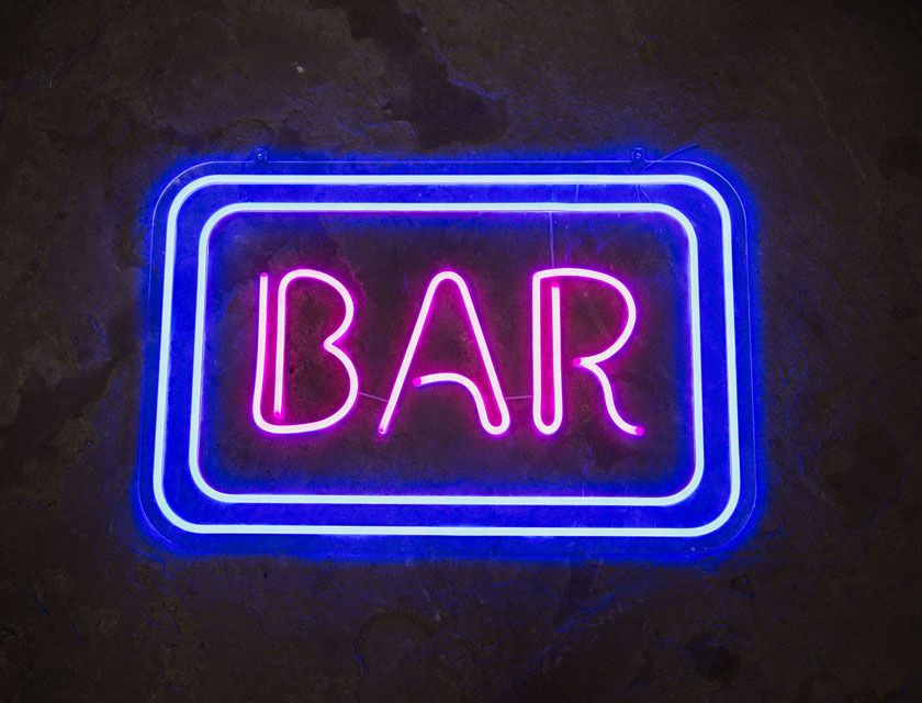 BAR - Neon Sign - Blue & Pink