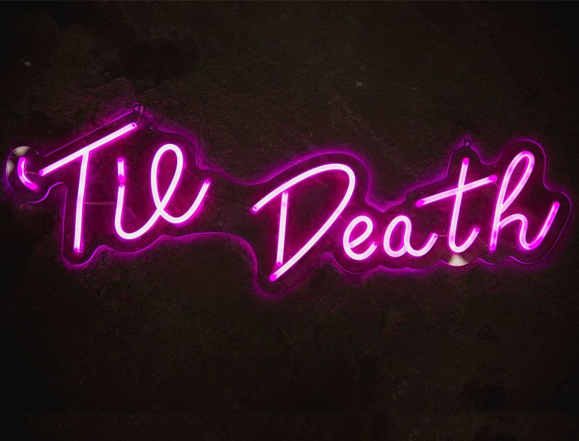 'Til Death - Neon Sign - Hot Pink